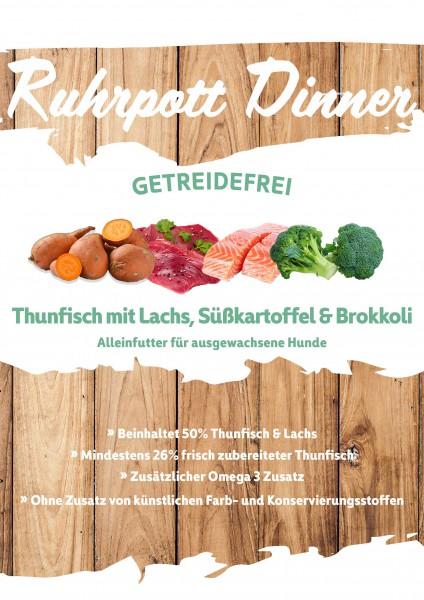 Ruhrpott Dinner Thunfisch mit Lachs, Süßkartoffel & Brokkoli