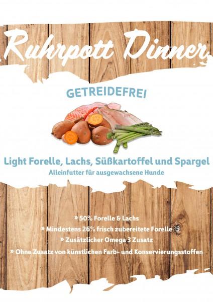 Ruhrpott Dinner Light Forelle, Lachs, Süßkartoffel und Spargel