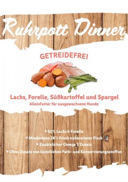Ruhrpott Dinner Lachs Forelle Süßkartoffel und Spargel